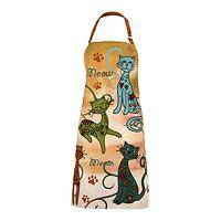 Fancy Feaster - Festival Cats Cotton Cat-Printed Apron with Paw Prints