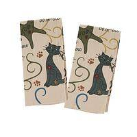 Functional Festival - Set of 2 100% Cotton Multicolored Cat Pattern Kitchen Towels
