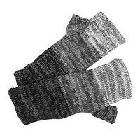 Warmth in Style - Gray Ombre Alpaca Fingerless Three Season Mittens