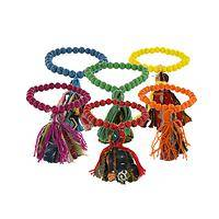 Finish With a Flourish - Bright Glass Bead & Recycled Fabric Tassel Stretch Bracelet