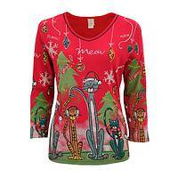 Meow Meow For Christmas Top - Christmas Cat Themed Rib Top