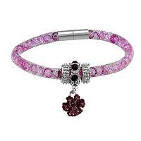 Brilliant Together  - Women's Purple Paw Print Mesh & Crystal Bracelet