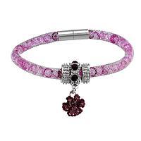 Brilliant Together  - Women's Purple Paw Print Mesh & Crystal Bracelet