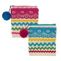 Festive Color - Pom Pom and Ric Rac Pouch
