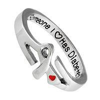 Someone I Love Has Diabetes - Diabetes Support Silver Metal & Enamel Engraved Ribbon Ring