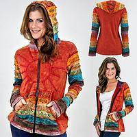 Sunrise Symphony - Elaborate Handmade Cotton Jacket with Rich Solar Embroidery