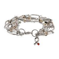 Silver Hope - Diabetes Awareness Bracelet Made From Links and Crystals