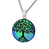 Luminous Tree of Life Medal - Dichroic Glass Tree of Life Necklace