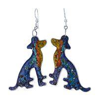 Rainbow Dogs - Vibrant Dog Shaped Gemstone Earrings