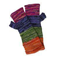 Cozy in the Mountains - Alpaca Wool Knitted Colorful Fingerless Mittens