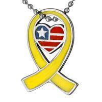 For Love of Country - Yellow Ribbon American Patriot Necklace