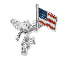 On Your Shoulder - Military Support Angel with American Flag Lapel Pin