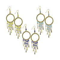 Dancing Delights - Dandora Chandelier Brass & Glass Bead Earrings Handmade