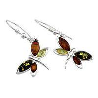 Winged Grace - Multicolored Amber & Sterling Silver Dragonfly Earrings