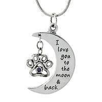 To the Moon and Back - Pet Love Paw Print Moon Sterling Silver Pendant Necklace