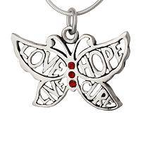 On the Wings of Love and Hope - Sterling Silver & Crystal Hope for a Cure Butterfly Necklace