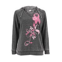 Pink Ribbon Swirling Hoodie - Support Breast Health Athletic Pullover Hoodie