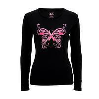 Support on Butterfly Wings - Breast Health Butterfly Long Sleeve T-Shirt