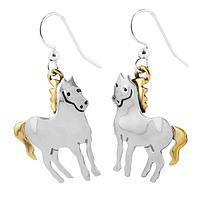 Regal Horses - Artisan Made Horse Shaped Earrings Silver and Brass
