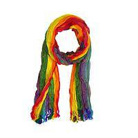 Wear a Rainbow! - Rainbow-Striped Hand-Loomed Lightweight Crinkle Scarf