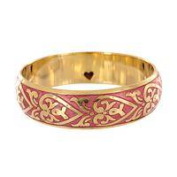 Ribbons Around My Heart - Hearts & Ribbons Pink Brass Bracelet Bangle
