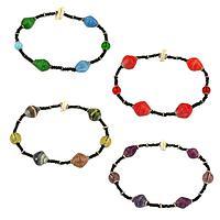 Recycled Magazine Stackable Stretch Bracelet
