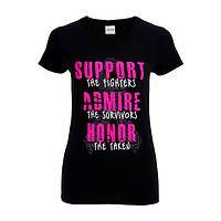 Support, Admire, Honor - Breast Cancer Support Pink Ribbon Cotton Slogan Tee-Shirt
