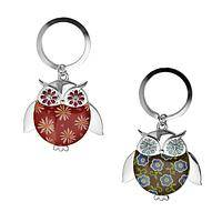 Whoo's Got the Keys? - Wise Owl Silver-Tone Metal Paisley Print Keychain