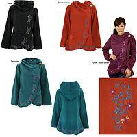 Flowering Vines Fleece Wrap Jacket