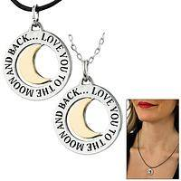 Love You to the Moon & Back Two-Tone Pewter Necklace