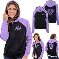 Paw Print Angel Wings Two Toned Zip Hoodie
