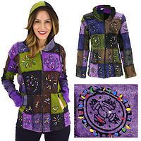 Patchwork Stonewashed Hooded Jacket