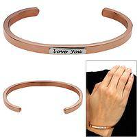 Love You Copper & Sterling Stackable Cuff Bracelet