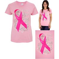 Faith Hope Cure Pink Ribbon Tee