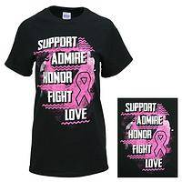 Pink Power! - Support Admire Honor Fight Love Black Cotton T-Shirt