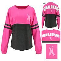 Pink Ribbon Believe Oversized Long Sleeve Tee