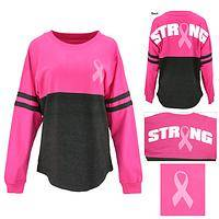 Pink Ribbon Strong Oversized Long Sleeve Tee
