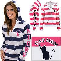 Cat Mom Striped Hoodie