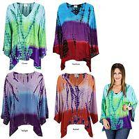 Tie Dye Block Print Long Sleeve Top