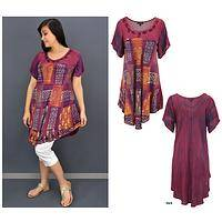 Dusky Patchwork Short Sleeve Tunic
