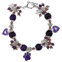 Crystal Paw Pewter Bracelet