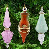 Fancy Swirl Glass Ornaments - Set of 3