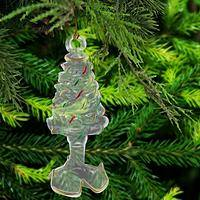 Festive Christmas Tree Glass Ornament