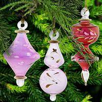 Finely Etched Ornaments - Set of 3