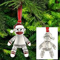 Happy Sock Monkey Ornament