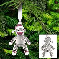 Happy Sock Monkey Pink Ribbon Ornament