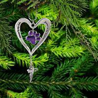 Heart & Purple Paw Ornament