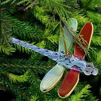 Multicolored Dragonfly Glass Ornament