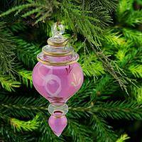 Pink Ribbon Glass Ornament