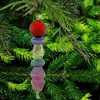 Rainbow Droplet Glass Ornament